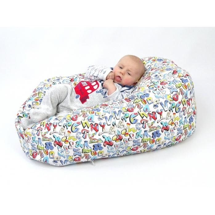Pelíšek pro miminka, kojenecký relaxační polštář GRAFITTI 3