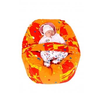 Pelíšek pro miminko, kojenecký relaxační polštář ŽIRAFA oranžová