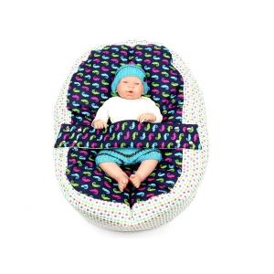 Pelíšek pro miminko, kojenecký relaxační polštář CHAMELEON MODRÝ