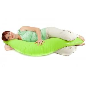 Těhotenský a kojicí polštář Matýsek, zelený fleece, pomocník již od II. trimestru těhotenství