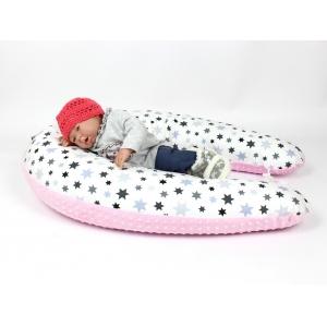 Multifunkční těhotenský a kojicí polštář Star minki růžový