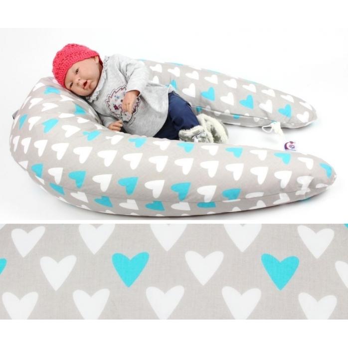 Kojicí, těhotenský polštář Matýsek SRDCE MODRÉ 100% bavlna