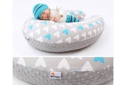 Těhotenský a kojicí polštář Maxi SRDCE MODRÉ minky colormix 205cm